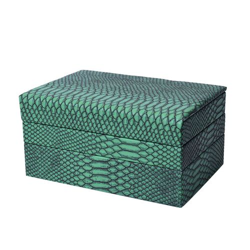 Three- Layer Jewellery Box with Light Pink Velvet Dust Cover on the Second and Third Layer (Size 24.5x17x12cm) - Dark Green