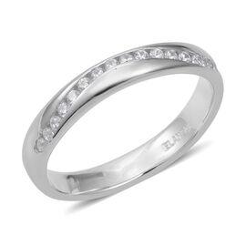 ELANZA Simulated Diamond (Rnd) Half Eternity Band Ring in Rhodium Overlay Sterling Silver