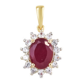 3 Carat African Ruby and Cambodian Zircon Halo Pendant in Rhodium Plated 9K Gold 1.41 Grams
