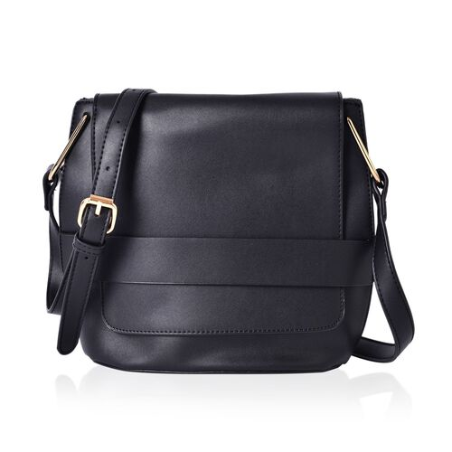 Dazzling Black Colour Crossbody Bag With Adjustable Shoulder Strap (Size 26.5x22.5x13 Cm)