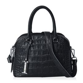 100% Genuine Leather Croc Embossed Tote Bag (Size 25x13.5x19 Cm) with Detachable Shoulder Strap - Bl