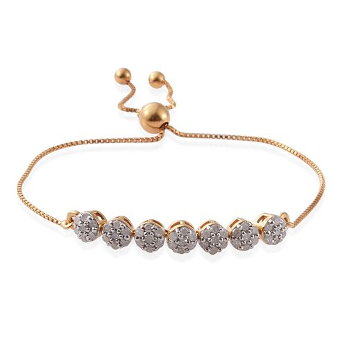 Diamond 0.57 Ct Silver Adjustable Bracelet in Gold Overlay (Size 6.5)