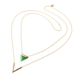 Designer Inspired-Green Jade Double Layer Necklace (Size 18) in Yellow Gold Overlay Sterling Silver