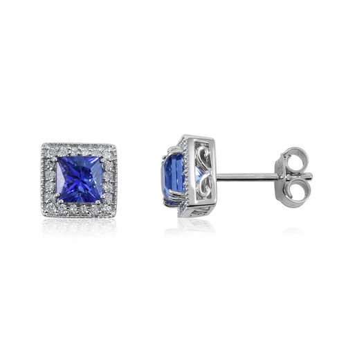 ILIANA 18K White Gold AAA Tanzanite and Diamond (SI/G-H) Stud Earrings (with Push Back) 1.70 Ct.