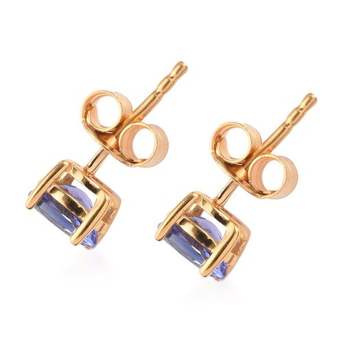 Tanzanite Earrings (with Push Back) in 14K Gold Overlay Sterling Silver 1.00 Ct.