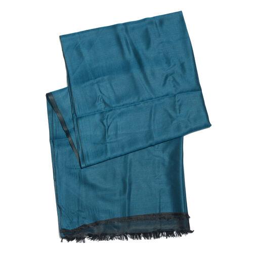 Vivid Blue Colour Reversible Scarf with Fringes (Size 200x70 Cm)