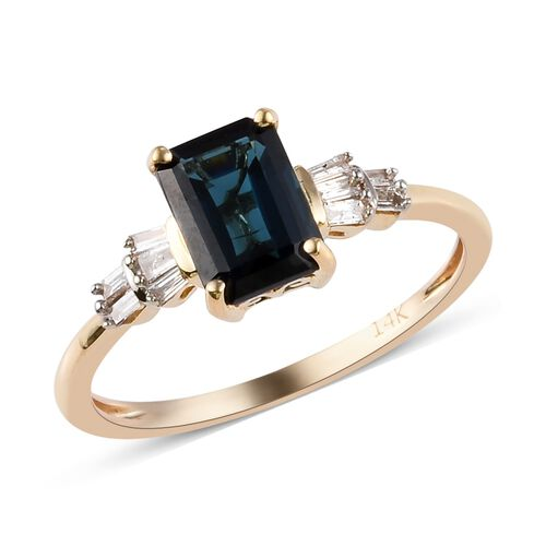 14K Yellow Gold Monte Belo Indicolite and Diamond Ring 1.35 Ct.