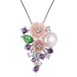 JARDIN COLLECTION - Fresh Water White Pearl, Pink Mother of Pearl, Amethyst and Multi Gemstone Enameled Floral Pendant with Chain in Rhodium Overlay Sterling Silver