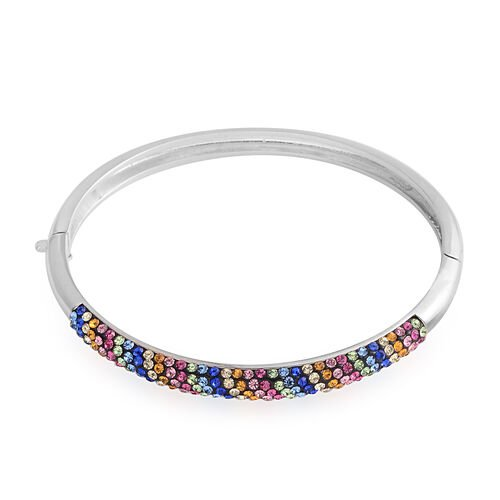 Vegas Close Out - Blue, Pink, Yellow and Multi Colour Austrian Crystal Bangle (Size 7) in Silver Plated