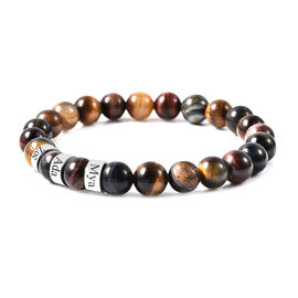 """Personalised Engravable Multi Color Tiger's Eye Beads Stretchable Bracelet, Stainless Steel, Size 6.5"""""""