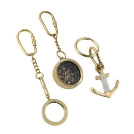 Set of 3 - Compass, Magnifying Glass & Anchor Key Chains in Gold Plated
