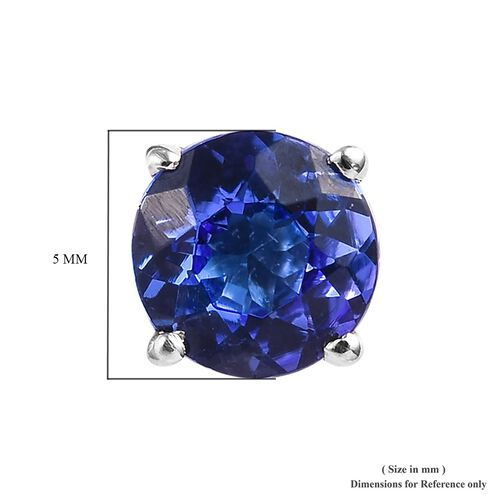 RHAPSODY 950 Platinum AAAA Tanzanite (Rnd) Solitaire Stud Earrings (with Screw Back) 1.00 Ct.