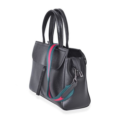 Designer Inspired Top Grain 100% Genuine Leather Black Colour Tote Bag with Pink and Green Colour Removable Shoulder Strap (Size 29X22X10.5 Cm)