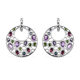 RACHEL GALLEY Amethyst, Rhodolite Garnet and Multi Gemstone Earrings (with Push Back) in Rhodium Ove