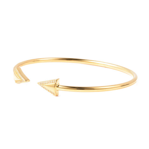LucyQ Art Deco Collection - Natural White Cambodian Zircon (Rnd) Bangle (Size 7) in Yellow Gold Overlay Sterling Silver