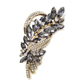 Simulated Grey Spinel (Mrq), White Austrian Crystal Brooch in Gold Tone