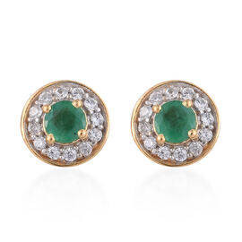 Brazilian Emerald (Rnd), Natural Cambodian Zircon Stud Earrings (with Push Back) in 14K Gold Overlay