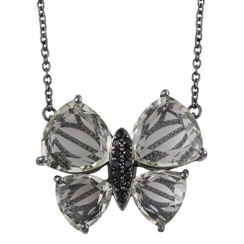 GP Green Amethyst (Trl), Boi Ploi Black Spinel and Kanchanaburi Blue Sapphire Butterfly Pendant With