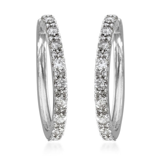 NY Close Out 10K White Gold Diamond (I1/G-H) Hoop Earrings (with Clasp) 2.00 Ct, Gold wt 5.00 Gms