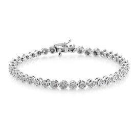 Diamond (Rnd) Tennis Bracelet (Size 7) in Platinum Plated Sterling Silver 0.330 Ct, Silver wt 11.00