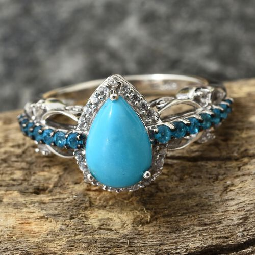 Arizona Sleeping Beauty Turquoise (Pear), Malgache Neon Apatite and Natural Cambodian Zircon Ring in Platinum Overlay Sterling Silver 2.250 Ct.
