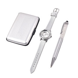 3 Piece Set - STRADA Japanese Movement Crystal Studded Water Resistant Watch with Silver Strap, Card