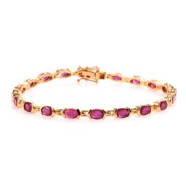 11.50 Ct African Ruby Line Bracelet in 14K Gold Plated Silver 9.73 Grams 8 Inch