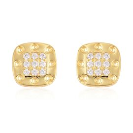 RACHEL GALLEY Majestic Collection Zircon and Burmese Ruby Stud Earrings in Gold Plaetd Silver