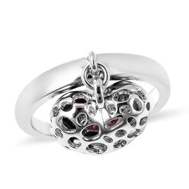 RACHEL GALLEY Angel Heart Collection - African Ruby Lattice Heart Charm Ring in Sterling Silver