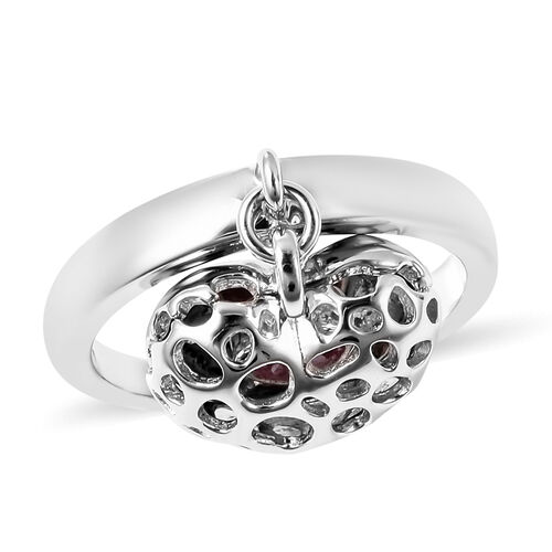 RACHEL GALLEY Angel Heart Collection - African Ruby Lattice Heart Charm Ring in Rhodium Overlay Ster