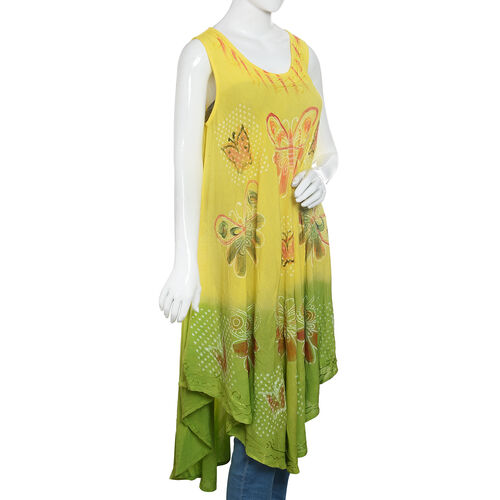 Green, Yellow and Multi Colour Butterfly Embroidered Apparel (Free Size)