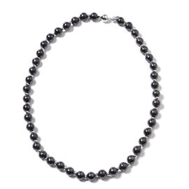 GP - Shungite (Rnd), Madagascar Blue Sapphire Beads Necklace (Size 18) in Rhodium Overlay Sterling S