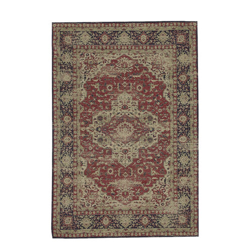 Premium Collection - Persian Style Jacquard Woven Cotton Area Rug with Blue and Multi Medallion (Size 140x200 cm)