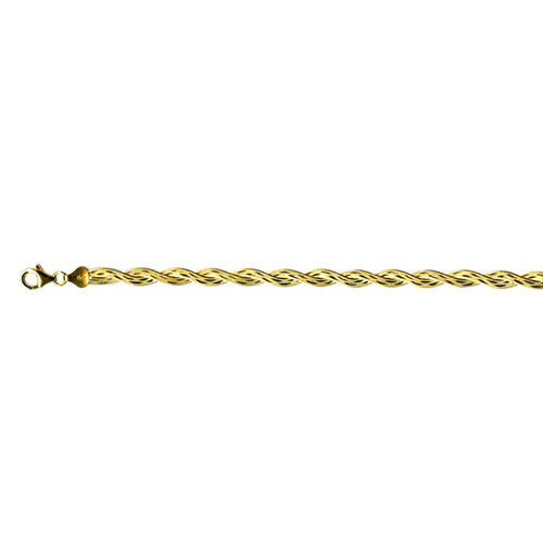 Yellow Gold and Platinum Overlay Sterling Silver Twined Herringbone Chain (Size 18), Silver wt 13.15 Gms