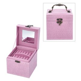 3 Layer Velvet Jewellery Box with Inside Mirror and Vintage Handle (Size 12x12x12 Cm) - Pink