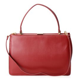 100% Genuine Leather Red Colour Tote Bag with Removable Shoulder Strap (Size 32x22x10.5 Cm)