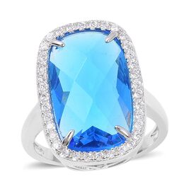 Simulated Blue Topaz and Simulated Diamond Halo Ring in Silver Plated