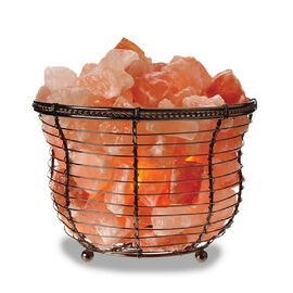 Himalayan Salt Crystal Chunks Lamp With Metal Wide Basket (Size 14x10 Cm) (Including E14/220V/15W Bu