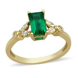 ILIANA 18K Yellow Gold AAAA Boyaca Colombian Emerald (Oct 7x4mm), Diamond (SI/G-H) Ring 0.91 Ct.