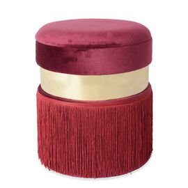 Storage Wooden Stool with Tassel (Size 40x33x33 Cm) - Wine Red