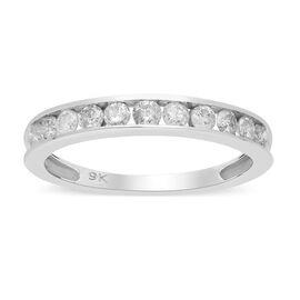 9K White Gold SGL Certified Diamond (I3/G-H) Half Eternity Band Ring 0.50 Ct.