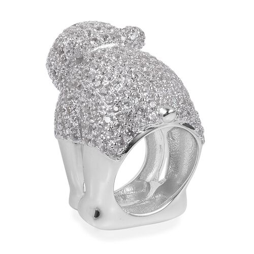 Natural White Cambodian Zircon (Rnd), Boi Ploi Black Spinel Bear Ring in Platinum Overlay Sterling Silver 11.100 Ct. Silver wt 16.00 Gms. Number of Gemstone 259