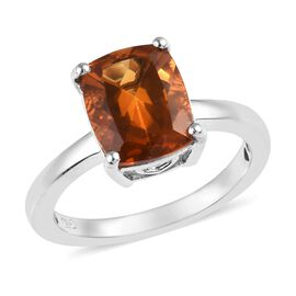 2.75 Ct Madeira Citrine Solitaire Ring in Platinum Plated Sterling Silver