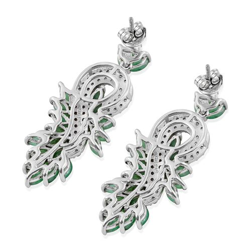 Designer Inspired- Kagem Zambian Emerald (Mrq), Natural Cambodian Zircon Leaves Earrings (with Push Back) in Platinum Overlay Sterling Silver 7.250 Ct. Silver wt. 9.03 Gms. Number of Gemstones 130