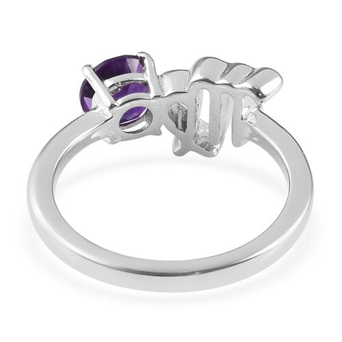 African Amethyst (0.50 Ct) Platinum Overlay Sterling Silver Ring  0.500  Ct.