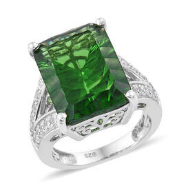 9.75 Ct Helenite and Cambodian Zircon Solitaire Design Ring in Sterling Silver 6.07 Grams
