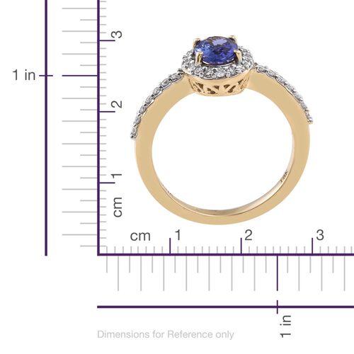 ILIANA 18K Yellow Gold AAA Tanzanite (Ovl), Diamond (SI/G-H) Ring 1.150 Ct.