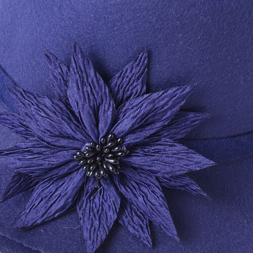 Blue Colour Flower Adorned Hat (Size 30X16 Cm)