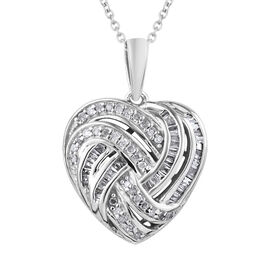 GP Diamond (Rnd), Kanchanaburi Blue Sapphire Heart Pendant With Chain (Size 20) in Platinum Overlay Sterling Silver 0.350 Ct.