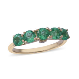 1.28 Ct AA Zambian Emerald and Diamond 5 Stone Ring in 9K Gold